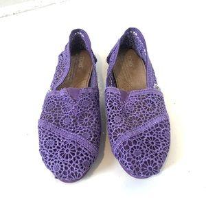 TOMS crochet classic purple shoe